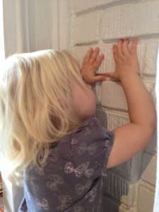 2 year old Helena recognizes the bricks of the classroom fireplace as a kind of block.