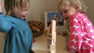 1.5 year olds Wren & Lila work together on a Taj Mahal-inspired structure on Day 4.